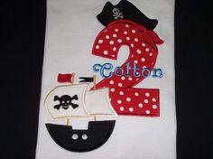 Pirate's Birthday shirt personalizes for by Birthdayshirtsanmore