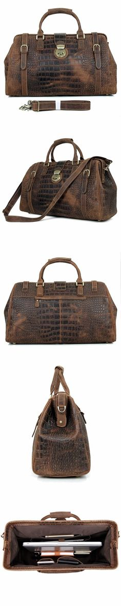 Designer Crazy Horse Handbags Mens Vintage Leather Duffle Bag Business  Travel Luggage Bag 7281 1617e4ef6d