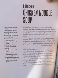 """""""Rotochick"""" chicken noodle soup Best Picture For chicken noodle soup song For Your Taste You are loo Chrissy Teigen Cookbook, Chrissy Teigen Recipes, Rotisserie Chicken Soup, Chicken Noodle Recipes, Dinner Entrees, Soup And Sandwich, Soup And Salad, Soups And Stews, Food For Thought"""