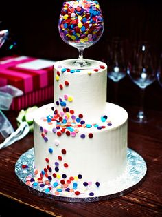 With smarties or M, fun for a scrappers birthday, or make a cukcake version