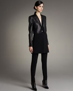 Akris Open-Front Cropped Leather Jacket, One-Button Gilet & Carla Classic Pants - Neiman Marcus