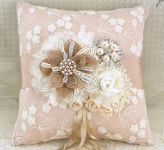 Ring Bearer Pillow Bridal Pillow in Champagne and ♥ by SolBijou, 5.00