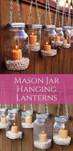 Mason Jar Hanging Lanterns | Farmhouse Lanterns | Mason Jar Decor | Farmhouse Decor | Home Decor | Gift Ideas #ad