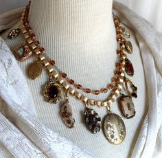 Stunning Victorian Assemblage Collage Necklace Choker Charms antique vintage gorgeous jewelry  up cycled repurposed elegant multi strand