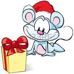 Maus mit Geschenk und Santa Hut Illustration