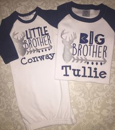 Big brother little brother deer personalized baby boy newborn gift deer antler little brother raglan baby gown matching big brother raglan tee shirt sibling negle Images