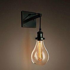 PureLumeTM Retro Industrial Tearbulb Wandleuchte Wandlampe mit Glaskuppel und Edison T18 Tube 40W Glühbirne