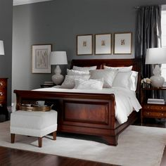 Bedroom Wall Colors with Cherry Furniture . Elegant Bedroom Wall Colors with Cherry Furniture . New Great Cherry Furniture Bedroom Ideas 8428 Cherry Wood Furniture, Dark Wood Bedroom Furniture, Gray Bedroom Walls, Bedroom Sets, Home Bedroom, Furniture Ideas, Trendy Bedroom, Bedroom Colors, Furniture Stores