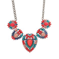"Love this! Found it on Journey Accessories We're spellbound by lush and lavish Delphia necklace. Vivid red, blue, and aqua stones form a stunning palette in this hematite statement piece. Pops of CZ's throughout add extra shimmer. Pair this beauty with understated studs and let Delphia shine.  - Hematite metal, resin, CZ's - 18"" long, 3"" extender - Lobster clasp closure Item # KRY30001113 $58"