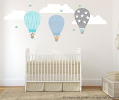 Hot Air Balloon Wall Decal, Wall Decals Nursery, Wall Decal Nursery, Nursery Wall Decal, Baby Wall Decal, REMOVABLE and REUSABLE