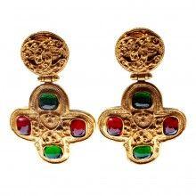 Vintage Chanel Etruscan Gripox Cross Earrings