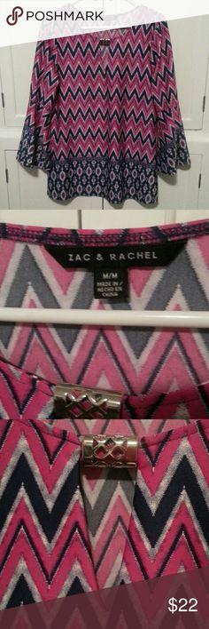 "ZAC & RACHEL tunic Chevron stripes of pink & navy blue. Silver detail on neckline.  EXCELLENT CONDITION! pit to pit 18.5"" Shoulder to hem 27.5"" Zac & Rachel Tops Tunics"