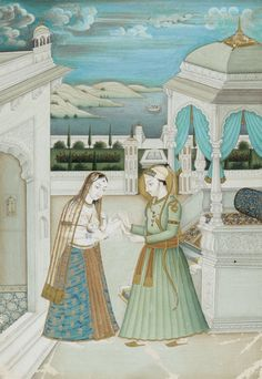 An Indian painting depicting a noble couple with a baby on the terrace of a palace, a lake in the background. Colours on paper. Mounted. Colours faded. Rubbed at the lower corners. Probably early 20th century. Matted in brocade, framed and glazed. Painting 16.1 x 11.1 cm
