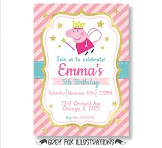Peppa Pig invitación cumpleaños