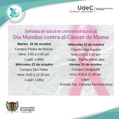 Jornada de salud en conmemoración al día mundial de cáncer de mama #Unicartagena #Bienestar World, Wellness, Healthy