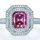 Tiffany & Co. | Item | Rectangular modified brilliant pink diamond ring in platinum. | United States