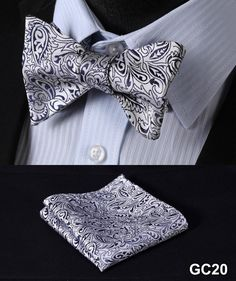 GC20 GRAY Floral 100% Silk Butterfly Tie Self Tie Bow Tie Pocket Square Bow tie Set