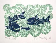FISH FOES linocut by Lev