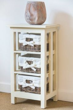 Reclaimed Pallet Wood 3 rattan drawers storage unit Country White