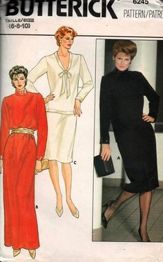 80s Butterick 6245 Straight Dress/ Maxi Top & Skirt Vintage Sewing Pattern Size 6 8 10 Bust 30 1/2 31 1/2 32 1/2 inches UNCUT Factory Folded