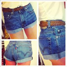 DIY high waisted shorts from men's jeans.  Made these myself!