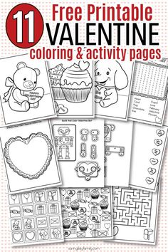 Free printable Valentine coloring pages and Valentine activity sheets for kids! Super fun Valentine's Day coloring pages and fun Valentine themed activities for kids. Perfect for kids Valentine parties, preschool Valentine theme, or just for fun. 11 total pages with 10 activities kids will love. #valentinesday #instantdownload #kidsactivities #valentinesforkids