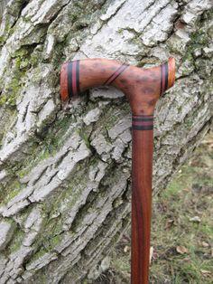 Red Wood Burl Walking Cane - Collector Item -  Wood Cane - Wooden Cane - Walking Stick - Wood -. $235.00, via Etsy.