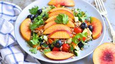 Healthy spelt salad with nectarines and cilantro (vegan)