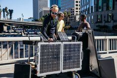 The Sycons Solar DJs testing out the new #Switch #Solar Bag at CicLAvia, Los Angeles' bi-annual bicycling extravaganza.