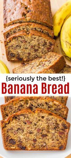 Banana Nut Bread Recipe (So Moist!) Banana Nut Bread Recipe (So Moist!),Natasha's Kitchen Moist Banana Nut Bread recipe loaded with overripe bananas, walnuts and raisins. This is the easiest recipe and it turns out. Banana Bread Recipe Video, Quick Banana Bread, Super Moist Banana Bread, Banana Bread Recipes, Easiest Bread Recipe, Banana Bread With Buttermilk, Banana Walnut Bread Healthy, Bananna Nut Bread, Leftover Banana Recipes