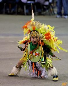 Young Native American dancer in Oklahoma. Little Warrior.