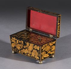 Fine Regency Period Sarcophagus Shaped Penwork Tea Caddy of Rare Size - Freshfords Fine Antiques