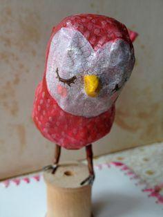 Red Birdie  paper mache bird by heartsandneedles on Etsy, $33.00