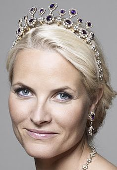 Queen Sonje's Amethyst Parure worn by HRH Crown Princess Mette-Marit of Norway