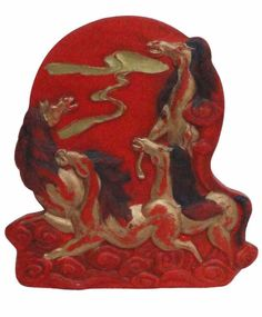 Chinese Double Side Carving Calligraphic Horses And Chinese Word Red Ink Stone mh450S