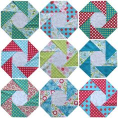 "Blocks from Geta Grama's ""Loving Hugs"" quilt. (Pattern available for sale at link.)"