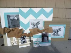 Hand Painted chevron frame beadboard frame by SillyGooseFrames, $140.00