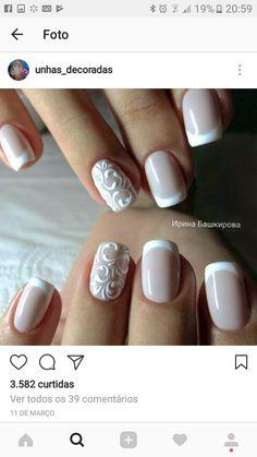 Design de unhas de noiva e casamento fotos de unhas de casamento - Braut Nägel - Bridal nails - Design Bridal Nails Designs, Bridal Nail Art, French Manicure Designs, Wedding Day Nails, Wedding Nails Design, Wedding Manicure, Wedding Makeup, Weding Nails, Simple Wedding Nails
