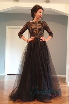 Sexy open v back half sleeves black tulle prom dress,More Details: More Gowns from JDsBridal.com
