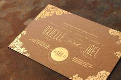 Kraft gold foil invitations