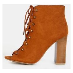 Studded Peep Toe Ankle Booties CHESTNUT (43 CAD) ❤ liked on Polyvore featuring shoes, boots, ankle booties, chestnut, chunky heel ankle booties, studded booties, lace up booties, chunky heel boots and lace up chunky heel booties