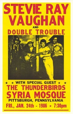 Stevie Ray Vaughan and Double Trouble, 1986 Concert Poster, Pittsburgh, PA