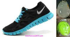 New Nike Free Runs 2 Womens Black Silver Tide Pool Blue Shoes