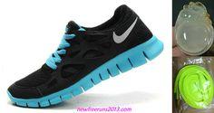 New Nike Free Runs 2 Womens Black Silver Tide Pool Blue Shoes