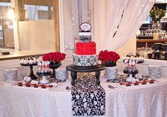 Black and White Damask Dessert Display