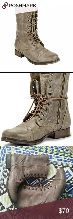SUMMER SALE!! Steve Madden Distressed Combat Boots Size: 7, Zippers on size and laces in front. Upper is leather. Great condition - used a handful of times.   Super slylish and comfy for everyday wear or shopping or even with leggings for brunch :)  Marking on right shoe. See pic 6. Steve Madden Shoes Combat & Moto Boots
