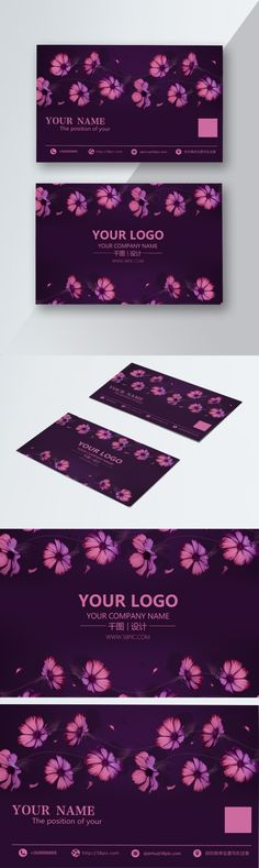 Simple Purple Modern Flower Business Card Design | Free Psd Download | PNG & Vector