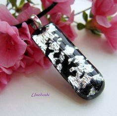 Delicate Cherry Blossom Handmade Dichroic Fused Glass Pendant - Black | Umeboshi - Jewelry on ArtFire