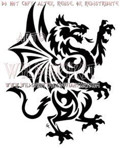 Rampant Welsh Dragon Tribal Design by WildSpiritWolf on @DeviantArt