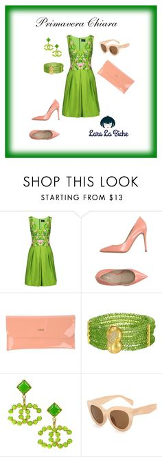 """""""primavera chiara"""" by laralabiche ❤ liked on Polyvore featuring Notte by Marchesa, Le Silla, CUPLÉ and Chanel"""
